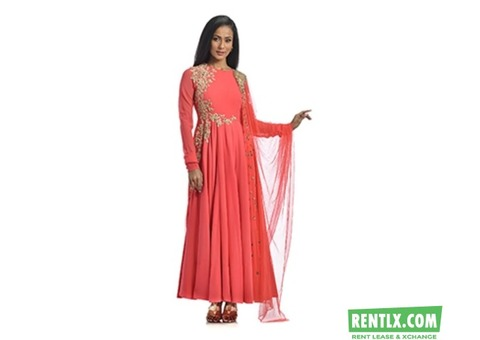RADIANT PINK-ORANGE ANARKALI FOR RENT IN BANGALORE