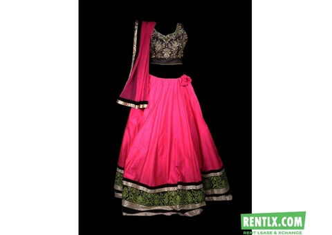 Pink Black Border Lehenga On Rent in Laxmi Nagar, Delhi