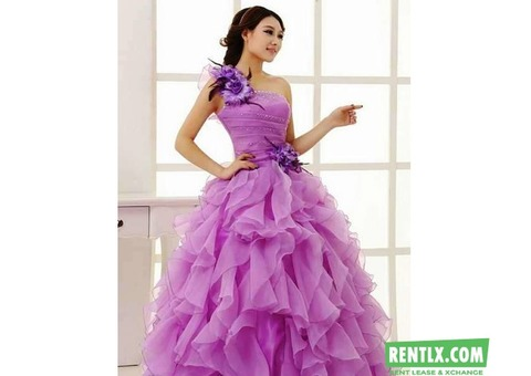 Purple ball gown For Rent in Gurgaon