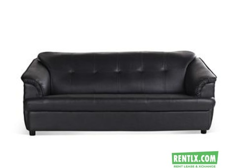 Art Leather Black Sofa on Rent in Bangalore