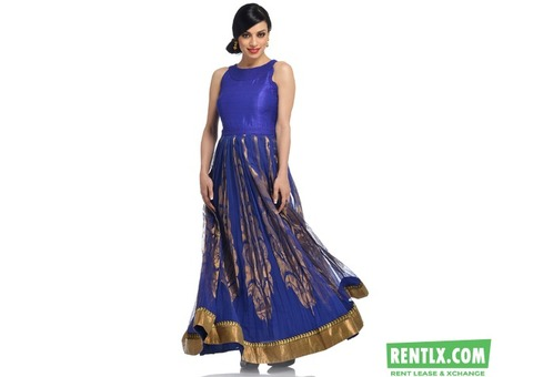 ROYAL BLUE SILK AND NET GOWN ON RENT IN VIZIANAGARAM