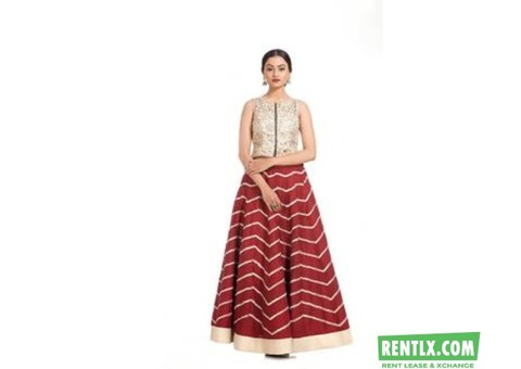 Red Lehenga & Embroidered Crop Top on Rent in  Ahmedabad