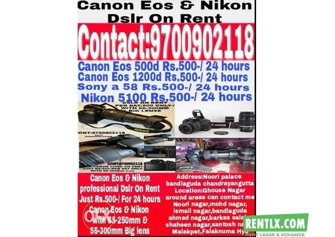 Canon & Nikon Dslr On Rent in Hyderabad
