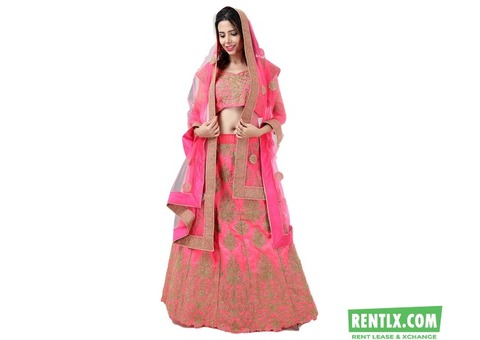 Anjal Pink and Golden Lehenga on Rent in Chennai