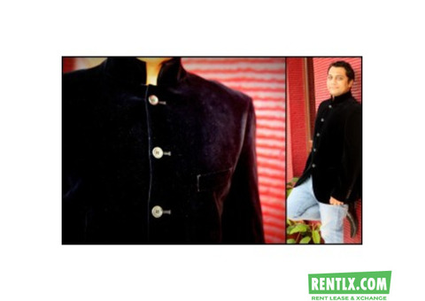 Black Velvet Mandarin Collar Blazer on Rent in Bangalore